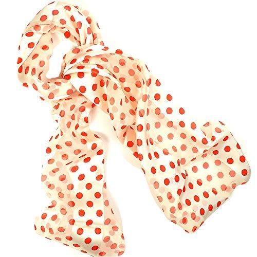 Damen Creme & Rot Polka Dot Print Fashion Schal (Schal Dot Polka Rot)