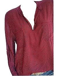Mujer Blusa tops manga larga estampado floral,Sonnena Las mujeres la blusa floja Tops destacan las mangas largas del cuello del punto de onda que imprimen para fiesta citas playa