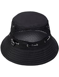 Leisial Mujer Verano Sombrero de Pescador Algodón respirable Sombrero de Sol Anti-UV Gorra de Viaje plegable para Adulto Unisexo Negro