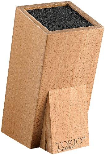 TokioKitchenWare Messerhalter: Universal-Messerblock aus Holz mit Borsteneinsatz (Messer-Blöcke)