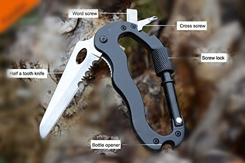 Edealing 2pcs 5 in1 Multi Function Wandern Überleben Kletterausrüstung Karabiner Messer-Werkzeug