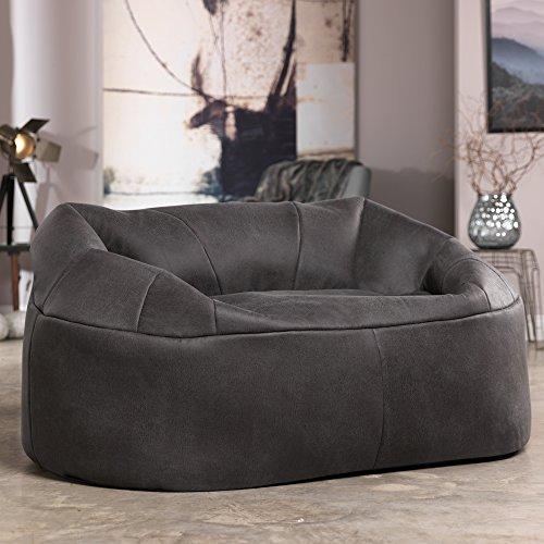 Causeuse Chaplin de ICON - GRIS ANTHRACITE - Chaise Snug grande taille à deux places-Canapé Snuggle pour deux personnes en Faux Cuir gris vintage- Causeuse pour 2 personnes