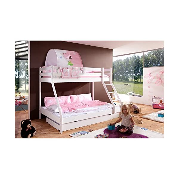 Relita Mike Bunk Bed with Drawers and 2pieces Bed Textile Set Princess, made of solid beech wood white lacquered Relita Width approx in cm: 155 Length approx. in cm: 210 Height approx. in cm: 160 1