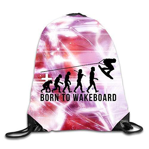 shuangshao liu Creative Design Wakeboarding Evolution Born To Wakeboard Rucksack mit KordelzugSport Tasche For Men And Women