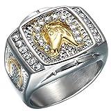 Quoouz Herren Pferdekopf Diamant Titan Stahl Vergoldet Schmuck Ringe