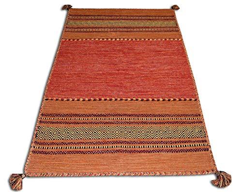 Centesimo web shop tappeto 100% cotone kilim in 9 misure 6 colori frange multiuso camera letto studio cucina corridoio bagno passatoia - 60x200 cm arancio