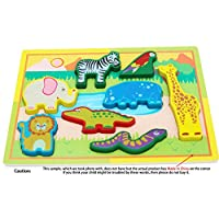 Wooden Animal Puzzles - Wooden Puzzle for 18 Months Toddlers Puzzle - Wildlife Animals Peg Puzzles Chunky Size - Wooden Jigsaw Puzzle for 18 Months Old - Toddler Puzzle as Early Learning Toys