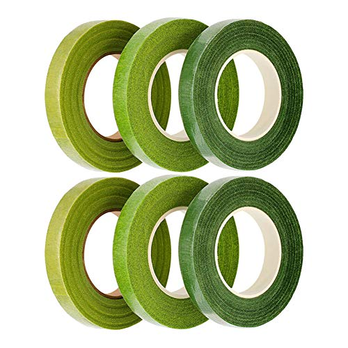 4 Pieces Floral Tape Dark Green, Light Green, White, Black Wowot Florist Stem Tape For Floral Arranging Craft Projects