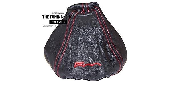 manuell The Tuning-Shop Ltd Schaltsack f/ür FIAT 500/2007 Leder mit schwarzer Stickerei 500 2015 Rot