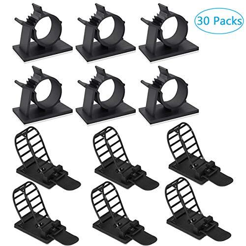 30pcs Clips de Cable Ajustable Autoadhesivo Alambre Plástico Abrazadera 2 Tipos de Clips para Coche,Oficina y Hogar,Negro