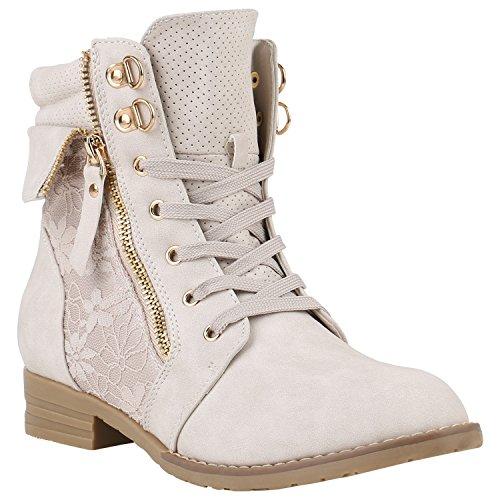 Damen Stiefeletten Schnürstiefeletten Worker Boots Zipper Schuhe 142055 Creme Autol 37 Flandell