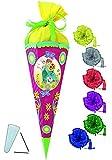 Unbekannt BASTELSET Schultüte -  Disney die Eiskönigin - Frozen  - 85 cm - incl. Schleife - mit / ohne Kunststoff Spitze - Zuckertüte - Set zum selber Basteln - 6 eck..