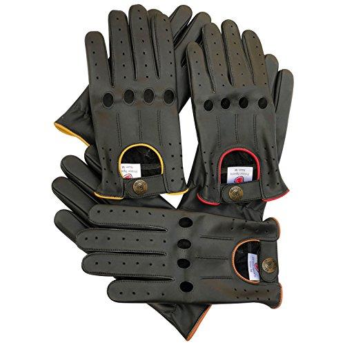 Hommes gants en cuir véritable Conduite classique corde Noir avec 4trous 507avec passepoil Jaune & marron BLACK WITH BROWN PIPING grand