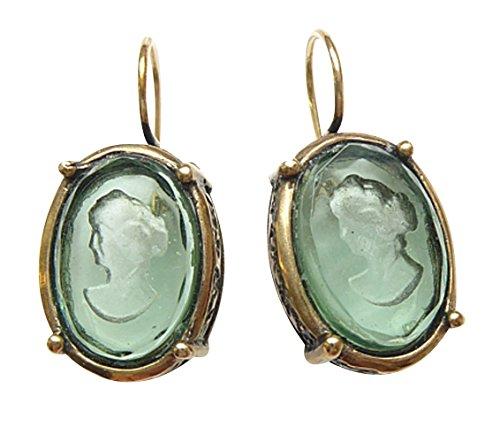 Turmalin-grüne Gemmen-Ohrringe Ohrhänger ovale Glas-Gemme Haken Bügel verschließbar Bronze...