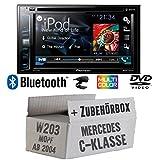Pioneer AVH-X2800BT - 2DIN USB Bluetooth DVD - Autoradio - Einbauset für Mercedes C- JUST SOUND best choice for caraudio
