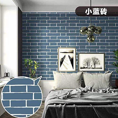 Blau Leder Osmanischen (Schlafzimmer Wandaufkleber selbstklebende Ziegel Tapete Retro Farbe blau)