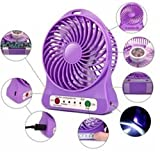 GKP Products ® 4-Inch Rechargeable Battery USB Mini Fan (Color May Vary)