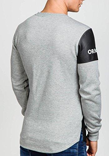 BOLF Herren Sweatshirt Pulli Langarmshirt Rundhals Classic ATHLETIC 0594 Grau_J07