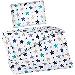 Aminata Kids Kinder-Bettwäsche 100-x-135 cm Stern-e Star Sternchen Baby-Bettwäsche 100-% Baumwolle Renforce türkis Petrol grün blau Weiss Junge-n und Mädchen