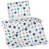 Aminata Kids Kinderbettwäsche Bettwäsche Kinder Sterne blau Jungen türkis weiß 100x135 Baumwolle Jungs marineblau blau hellblau Kinderbettwäsche Mädchen türkis Linon Babybettwäsche Kinderbettgröße