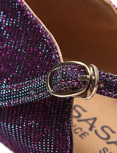 ShangYi Chaussures de danse ( Noir / Violet ) - Non Personnalisables - Talon Bobine - Flocage / Paillette Brillante - Latine / Salsa black and gold