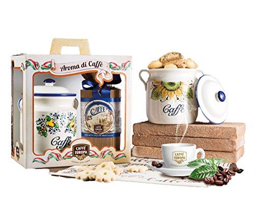 Caffè europa la ceramica del caffè, cesto natalizio con caffè di tostatura artigianale e ceramica lavorata a mano