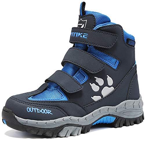 ASHION Kinder Winterschuhe Wanderschuhe Mid Schneestiefel Mädchen Trekkingl Stiefel Jungen Baumwollschuhe Warm Wanderstiefel (A Blau,26 EU)