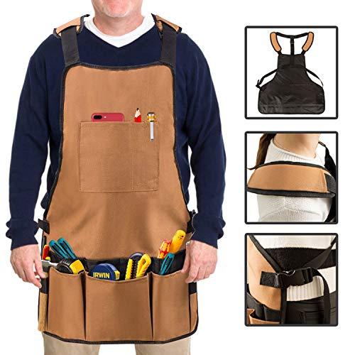 Sammiu Heavy Duty Lavoro Grembiule Regolabile Strumento Canvas Grembiule, Tuta Impermeabile Grembiule da Falegname, per Cucina, Giardino, Ceramica, bricolage, Officina, Garage