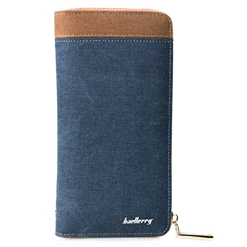 Young & Ming - Großen arrives Herren-Geldbörsen Men Male Canvs Wallet Vintage-Stil Handtasche mit 5 Cash Slots 8 Kartenfächer und 1 Smartphone-Position mit hoher Qualität Reißverschluss (Burberry Tasche Herren)
