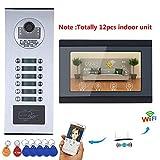 ZY Sistema videocitofonico 12 Sistema/videocitofono citofono videocitofonico con 12 Pulsanti 12 Monitor WiFi Impermeabile