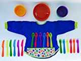 Ikea Kalas Baby Feeding Set Bundle with 30 Piece Dinnerware and Two Ikea Bibs with Sleeves and Spill-proof Pockets