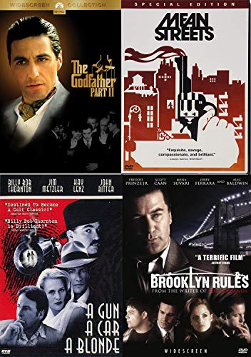 Crimes Rules Gangsters Movie Classics: Mean Streets + Godfather 2 & Brooklyn Rules + AGun, A Car, A Blonde Feature 4 Films DVD Bundle