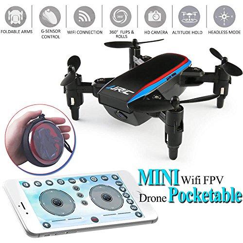 JJRC Drone, Mini Selfie Drohne mit Kamera, Wifi FPV Drone (Höhenlage, 5 Minuten Flugzeit, APP Steuerbar, G-Sensor) Klappbare Arms Pocket für Kinder Spielzeug Mini Drohne H54W (Black) by LITEBEE (Drohne Für Smartphone)