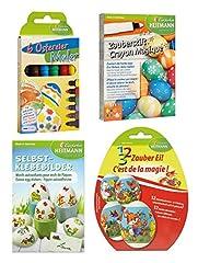 Idea Regalo - Heitmann Uova Colori 30058 - Set per Creare Le Uova di Pasqua 4Pezzi, Colore con Penna Magica, Uovo Magico, Uova di Pasqua Pittore e Adesivi, per Circa 45Uova