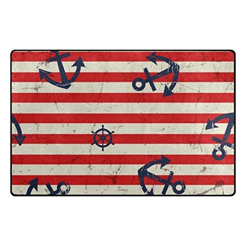Red Stripe Teppich (ALAZA Vintage Anchor Red Stripe Bereich Teppich 3'3