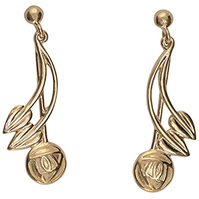 "Cairn 543G 9ct Gold Rennie Mackintosh Earrings ""Willow"" British Made. Charles Rennie Mackintosh Jewellery."