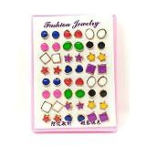 #7: Anokhi Ada Multi-colour Multi-Design Plastic Stud Earrings for Girls and Women (Combo of 24 Pairs) (JEB-1030)