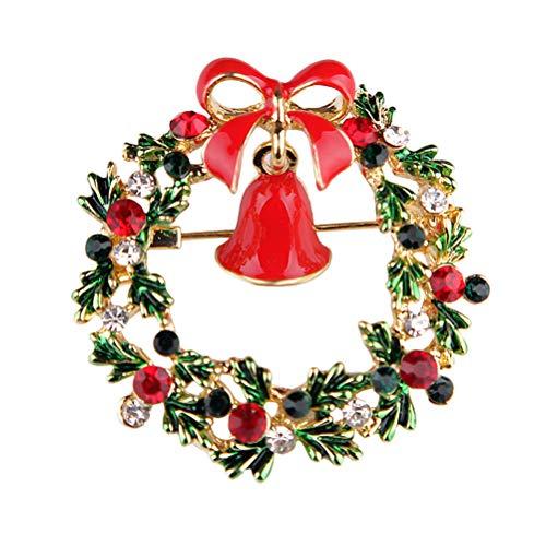 Luoem corona di natale spilla di strass di cristallo di natale ghirlanda campana spilla pin pinza accessori per gioielli partito di abbigliamento