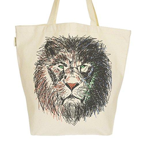 Grand Sac Cabas Fourre-tout Imprimé Toile Bio 37x45x20cm Tote Bag XL - Cecil le lion