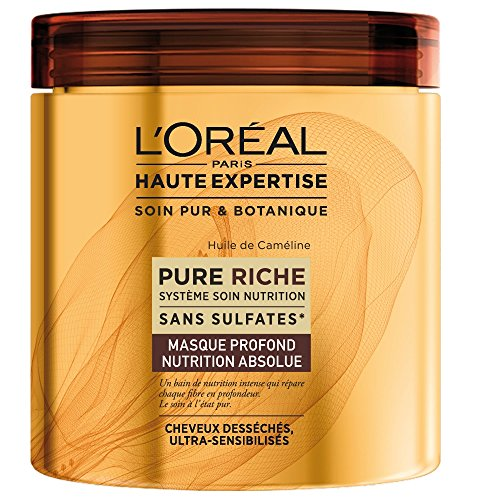 L'Oréal Paris Pure Riche Masque Nutrition à Rincer Cheveux Secs Lot de 2 x 200 ml