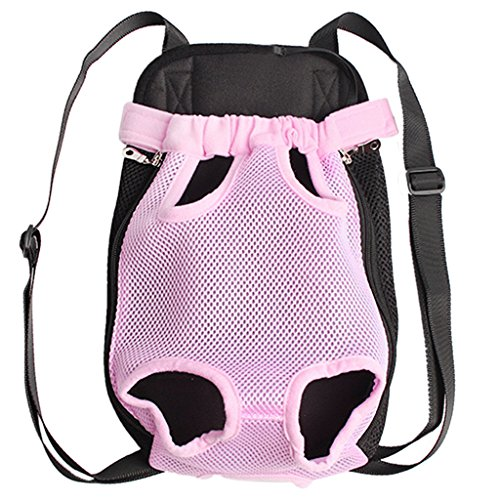 Imported Nylon Pet Puppy Dog Cat Carrier Backpack Front Tote Carrier Net Bag Pink S