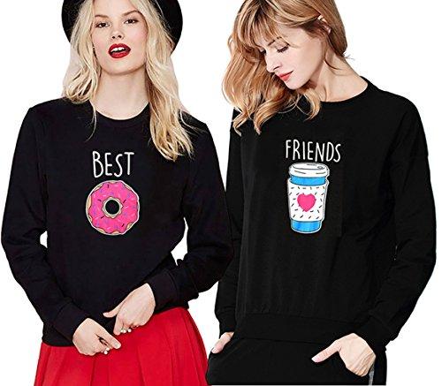 *Pullover Schwester Beste Freunde Kaffee und Donut Für Zwei Mädchen Sweatshirt Damen Weiß Ohne Kapuze Pulli Frau Aufdruck Baumwolle Aufdruck 2 Stück JWBBU® (Best-S+Friends-S, Schwarz)*