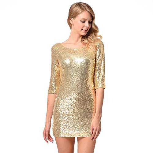 id Sexy Abend Cocktail Party Schlank Kurzer Rock S-Xxl . Gold . Xl (Brown-bag-puppen Halloween)