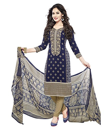 Parihar Dark Blue Synthetic Printed Unstitched Salwar Suit Dress Material