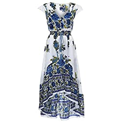 DAYSEVENTH Latest Style Women Print Floral Retro Palace Evening Party Dress