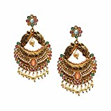 iKraft Long Chandbali Earrings Peacock Design Studded with Rubies Stone Gold Tone Peals Embellished Traditional Dangler Earrings for Womens