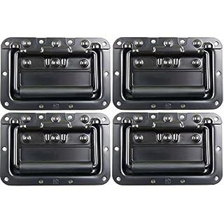 Adam Hall Hardware 34082BLK M4 AH - 4er Set Klappgriff/Kistengriff gefedert schwarz in 8 mm Einbauschale