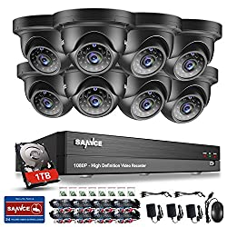 SANNCE 8CH 1080P CCTV Camera System, 8 Channel CCTV DVR with One 1TB Surveillance HDD and 8x 1920*1080P 2.0MP Weatherproof Bullet Camera, Home Security System HD Over Analog/BNC, Smart Email Alert, Peer to Peer Technology
