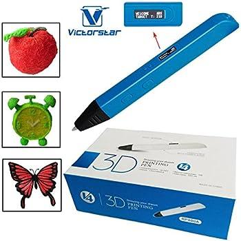 VICTORSTAR @ 3D Stylo-RP800A OLED Afficher / Version 4 de Génération fait 4 des améliorations plus importantes et de meilleures opérations pour 3D Dessin / Stylo 3D + Aadaptateur Secteur + ABS Flaments + Manuel + Tournevis / Cadeau étonnant pour les Enfants (bleu)