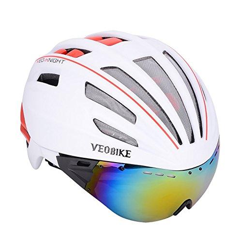 Biking Helmet Fahrradhelm für Männer Frauen mit Sicherheit LED Rücklicht Abnehmbare Magnetische Schutzbrille Visor Mountain & Road Fahrradhelme Adjustable Adult Radfahren Helme